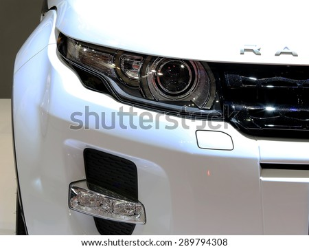 Bangkok - April 2 :headlight of Range Rover series Evoque - in display at The 36th Bangkok international Motor Show 2015 on April 2, 2015 in Bangkok Thailand - stock photo