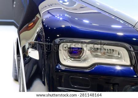 Bangkok - April 2 : headlights of Rolls Royce- in display at The 36th Bangkok international Motor Show 2015 on April 2, 2015 in Bangkok Thailand - stock photo