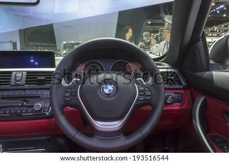 BANGKOK - APRIL 2: Interior of BMW car on display at The 35th Bangkok International Motor Show on April 2, 2014 in Bangkok, Thailand. - stock photo