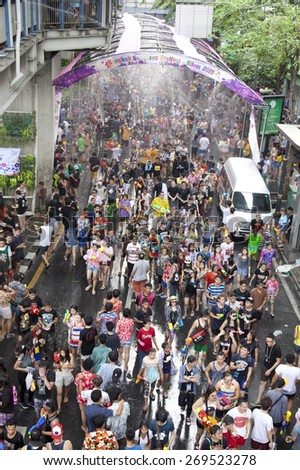 Bangkok April 13:Songkran Festival at Silom Road, Bangkok, is another beat place to celebrate Thai tradition New Year for thais and foreigners on Silom Bangkok April 13,2015 in Thailand - stock photo
