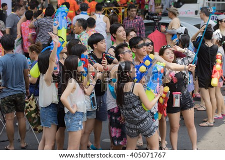 Bangkok April 13:Songkran Festival at Silom Road, Bangkok, is another beat place to celebrate Thai tradition New Year for thais and foreigners on Silom Bangkok April 13,2016 in Thailand