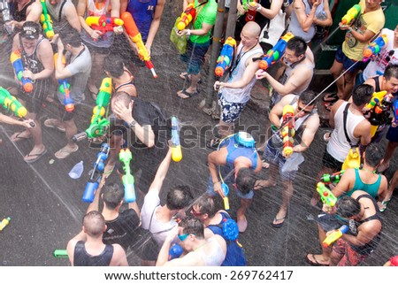Bangkok April 13:Songkran Festival in Silom, Bangkok, A popular place to celebrate Thai New Year for thais and foreigners on Silom Bangkok April 13, 2015 in Thailand