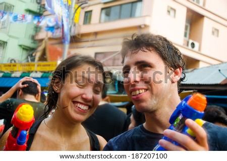 BANGKOK - APRIL 13: Songkran Festival is celebrated in Thailand as the traditional New Year's at Khao San Road on April 13, 2014 in Bangkok, Thailand