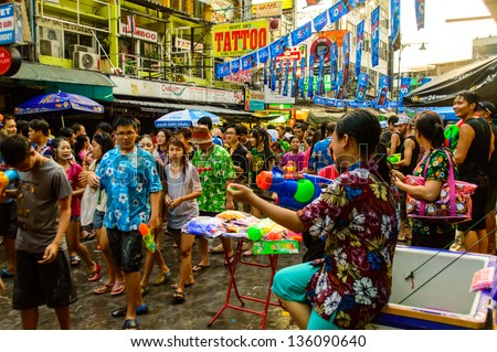 BANGKOK - APRIL 13 : Songkran Festival is celebrated in Thailand as the traditional New Year's Day from 13 to 15 April by throwing water at each other, on 13 April 2013 in Bangkok.