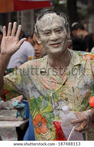BANGKOK, APRIL 15: Songkran is water festival in Thailand as the traditional New Year on April 15, 2014 in Bangkok, Thailand. Thai and tourist enjoyed to throwing water to each other everywhere.