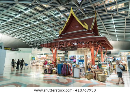 BANGKOK - APRIL 28 : Suvarnabhumi Airport terminal on April 28, 2016 in  Bangkok ,