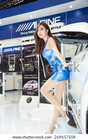 BANGKOK - APRIL 3 : Unidentified model with ALPINE on display at The 36th Bangkok International Motor show on April 3, 2015 in Bangkok, Thailand. - stock photo