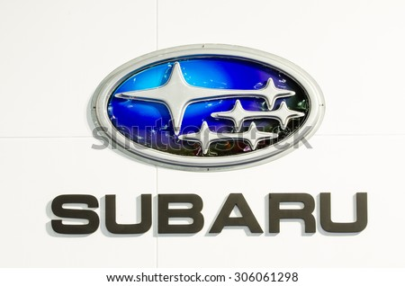 BANGKOK - AUGUST 1 : Logo of Subaru on display at Bangkok International Grand Motor Sale 2015 (Big Motor Sale 2015) is exhibition of vehicles for sale on August 1, 2015 in Bangkok, Thailand. - stock photo