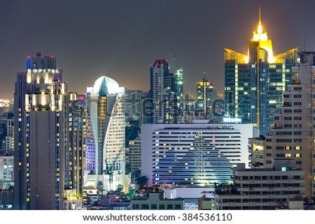 Bangkok business district at night time. - stock photo