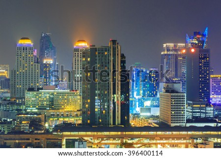 Bangkok business district at night time. - stock photo