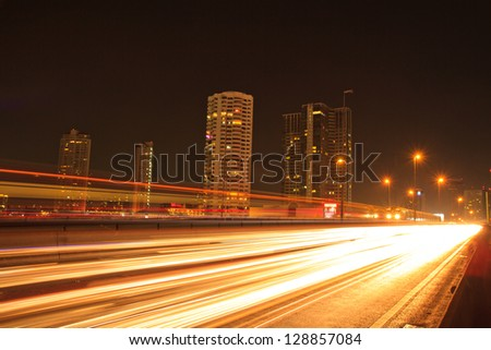 Bangkok city and boats in river. On sunset background, Thailand - stock photo
