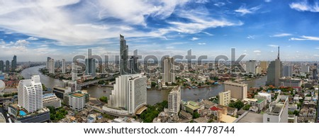 Bangkok city and Chao Phraya river panorama view in day time