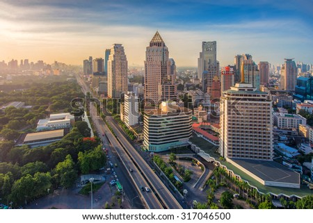 Bangkok City at morning time and Hotel and office building at Business area ,soft focus effect - stock photo