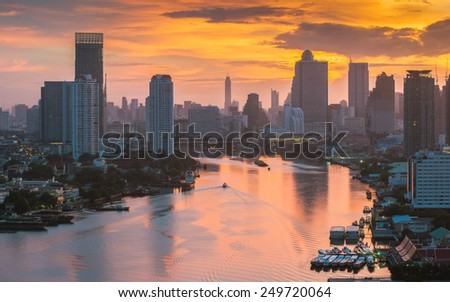 Bangkok City at morning time and the river,Hotel and resident - stock photo