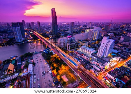 Bangkok City at night time, Hotel and resident area in the capital of Thailand - stock photo