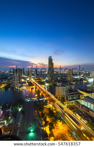 Bangkok city at sunset (Taksin Bridge)