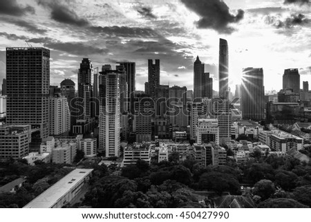 Bangkok city center,black white concept . Panoramic and perspective view background of glass high rise building skyscraper commercial of future. Business concept of success industry tech architecture - stock photo