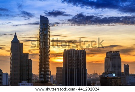 Bangkok city center on gold sunset. Panoramic and perspective view background of glass high rise building skyscraper commercial of future. Business concept of success industry tech architecture - stock photo