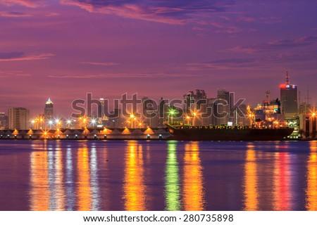 Bangkok city Cityscape twilight and Chao Phraya River Asia Thail - stock photo