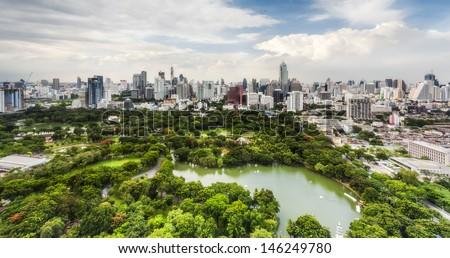 Bangkok city day view with main garden - stock photo