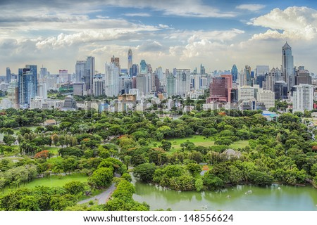 Bangkok city day view with main garden - stock photo