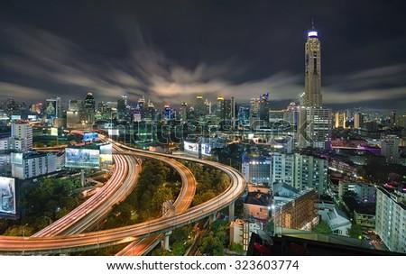 Bangkok city day view with main traffic and ring road - stock photo