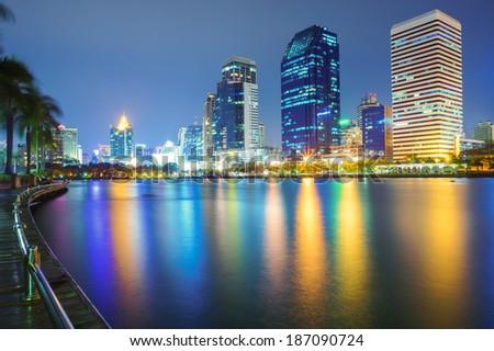 Bangkok city downtown at night, Bangkok,Thailand - stock photo