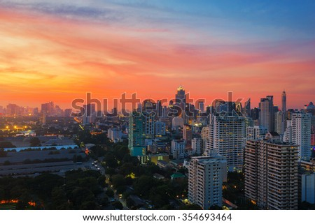Bangkok city downtown at sunset with beautiful sky