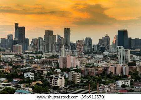 Bangkok city downtown with dramatic sky during sunset