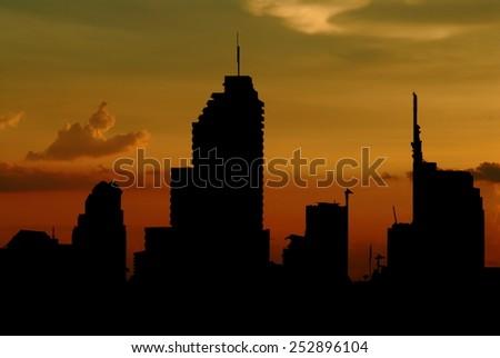 bangkok city in silhouette - stock photo