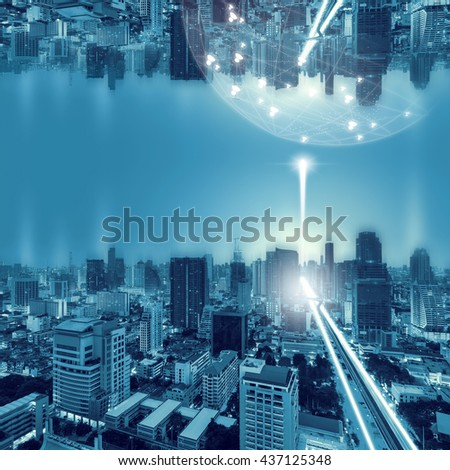 Bangkok city night and network connection concept.