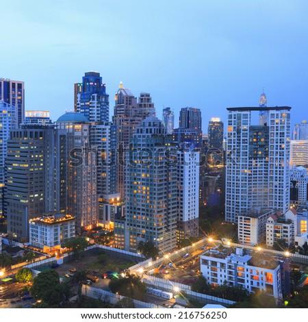 Bangkok city night view - stock photo