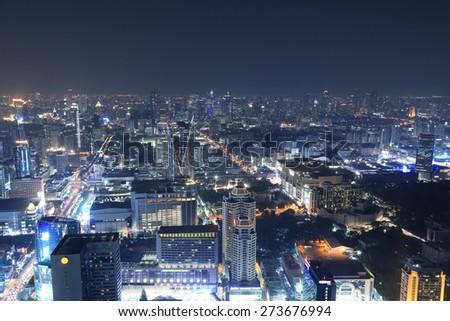 Bangkok city top view at night, Thailand - stock photo