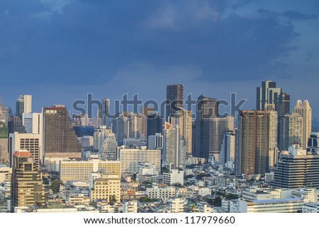 Bangkok city town and the blue sky, Thailand.