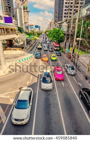Bangkok city traffic  - stock photo