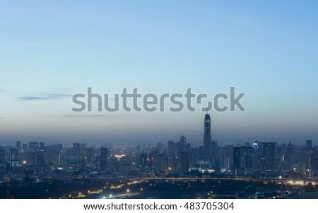 bangkok city view sunrise Twilight time color sky at Thailand
