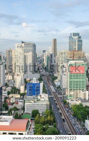 Bangkok city view with main traffic