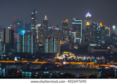 Bangkok cityscape at night. Motion blur