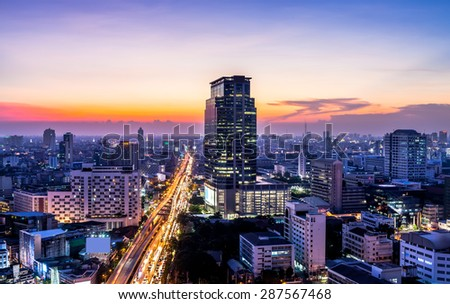 Bangkok cityscape at twilight, Thailand - stock photo