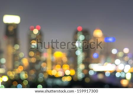 bangkok cityscape at twilight time, Blurred Photo bokeh - stock photo