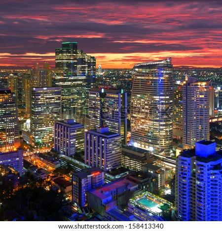 Bangkok cityscape. Bangkok night view in the business district. at dusk. - stock photo
