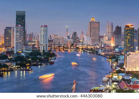 Bangkok cityscape. Bangkok night view riverside in the business district. at twilight