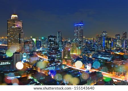 Bangkok cityscape. Bangkok night viwe in the business district. at dusk. - stock photo