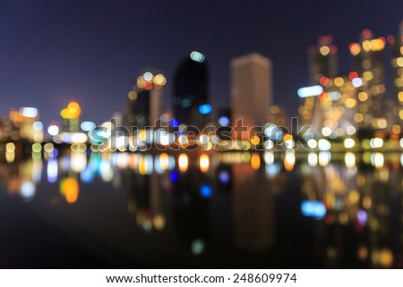 bangkok cityscape bokeh - stock photo