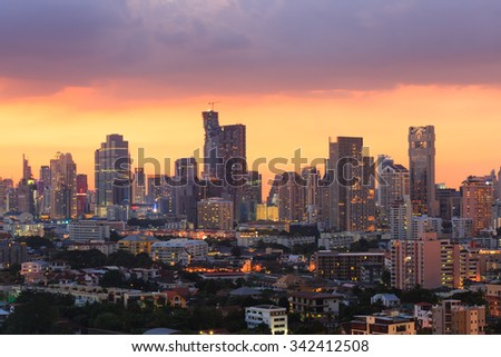 Bangkok Cityscape, Business district with high building at dusk (Bangkok, Thailand) - stock photo