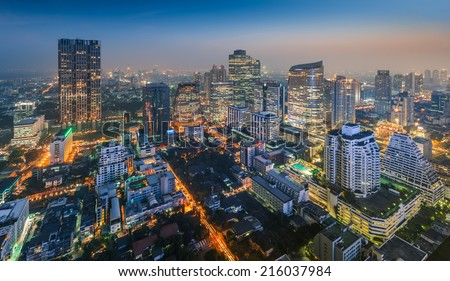 Bangkok Cityscape, Business district with high building at night (Bangkok, Thailand)