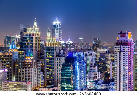 Bangkok Cityscape, Business district with high building, Thailand. - stock photo