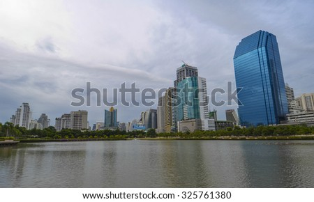 Bangkok Cityscape, Business district with Park in the City  (Thailand)