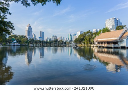 Bangkok Cityscape from Lumpini Park, Thailand at the morning circumstance and business district view
