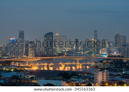 Bangkok cityscape from top view with river, Thailand
